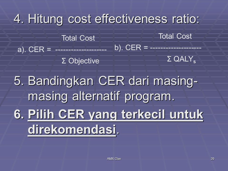 4. Hitung cost effectiveness ratio: