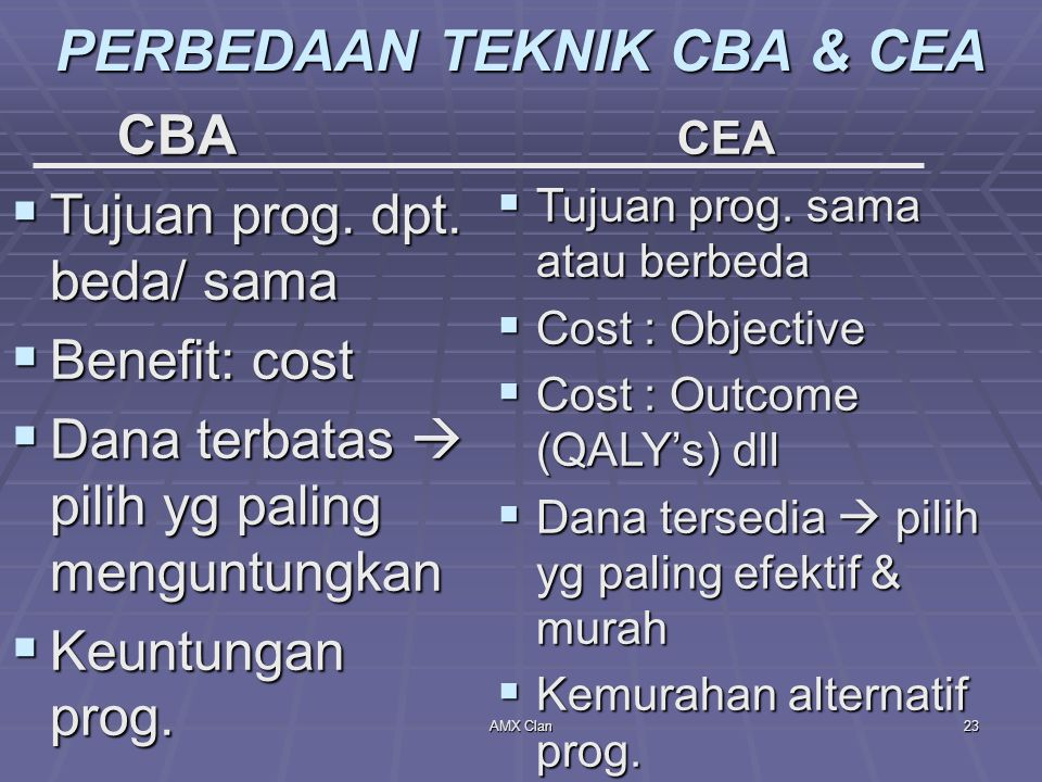PERBEDAAN TEKNIK CBA & CEA