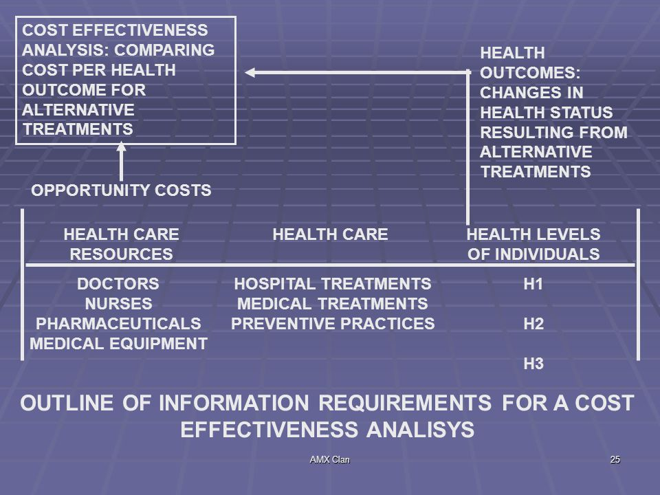 OUTLINE OF INFORMATION REQUIREMENTS FOR A COST EFFECTIVENESS ANALISYS
