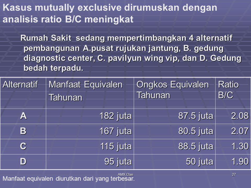 Kasus mutually exclusive dirumuskan dengan analisis ratio B/C meningkat