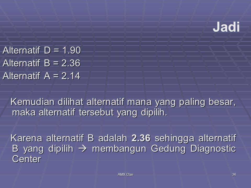 Jadi Alternatif D = 1.90 Alternatif B = 2.36 Alternatif A = 2.14