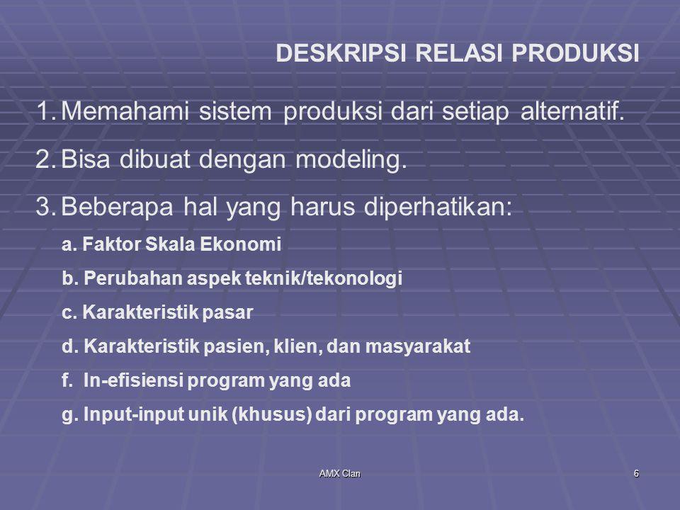 Memahami sistem produksi dari setiap alternatif.