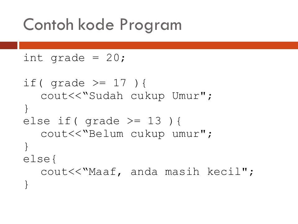 Contoh kode Program int grade = 20; if( grade >= 17 ){