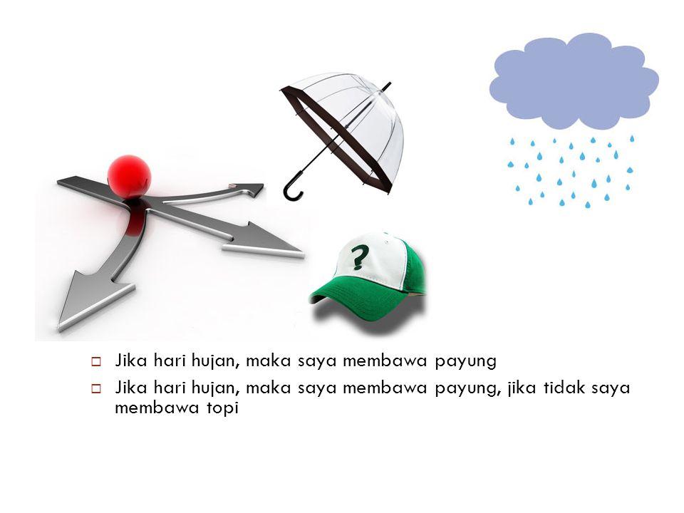 Jika hari hujan, maka saya membawa payung