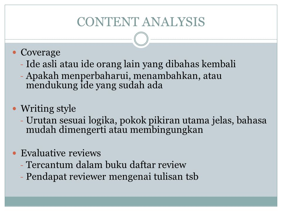 CONTENT ANALYSIS Coverage