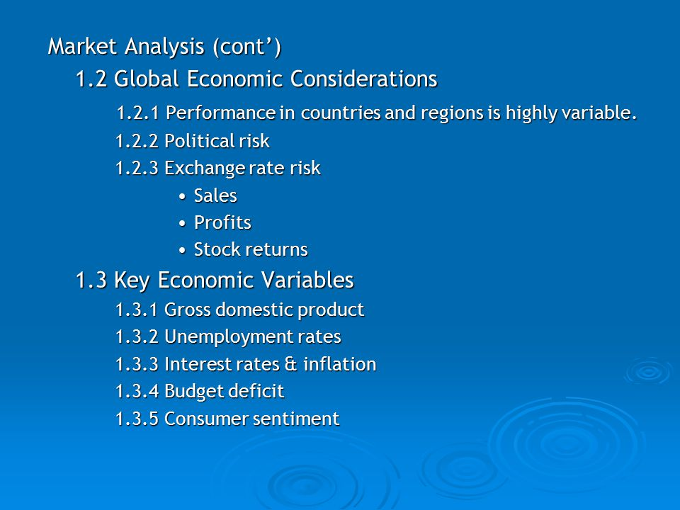 Market Analysis (cont') 1.2 Global Economic Considerations