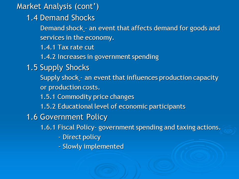 Market Analysis (cont') 1.4 Demand Shocks