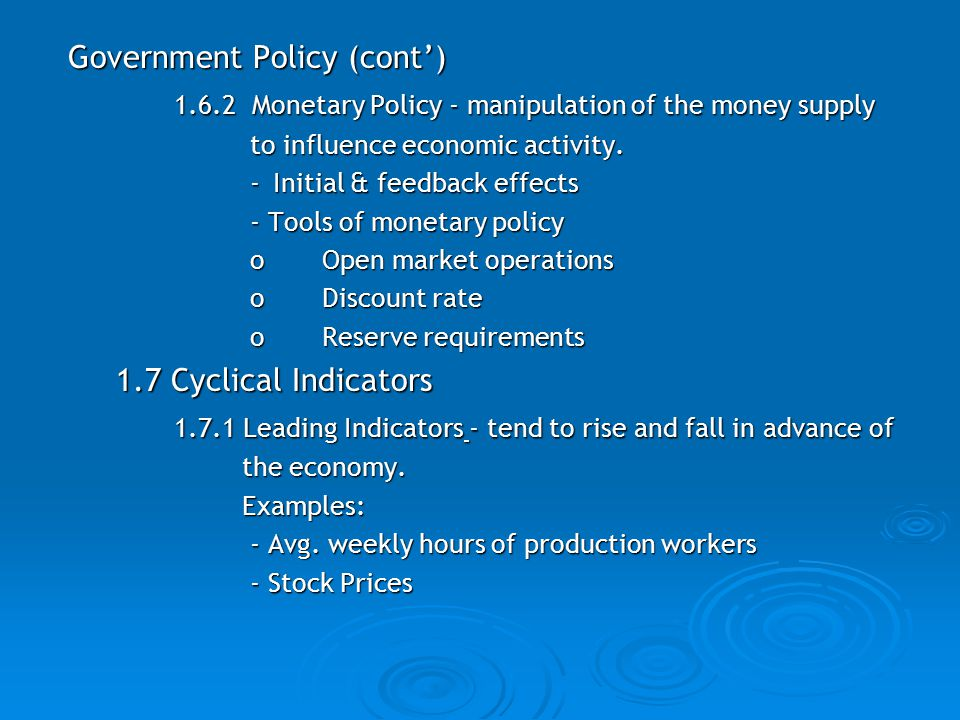 Government Policy (cont')