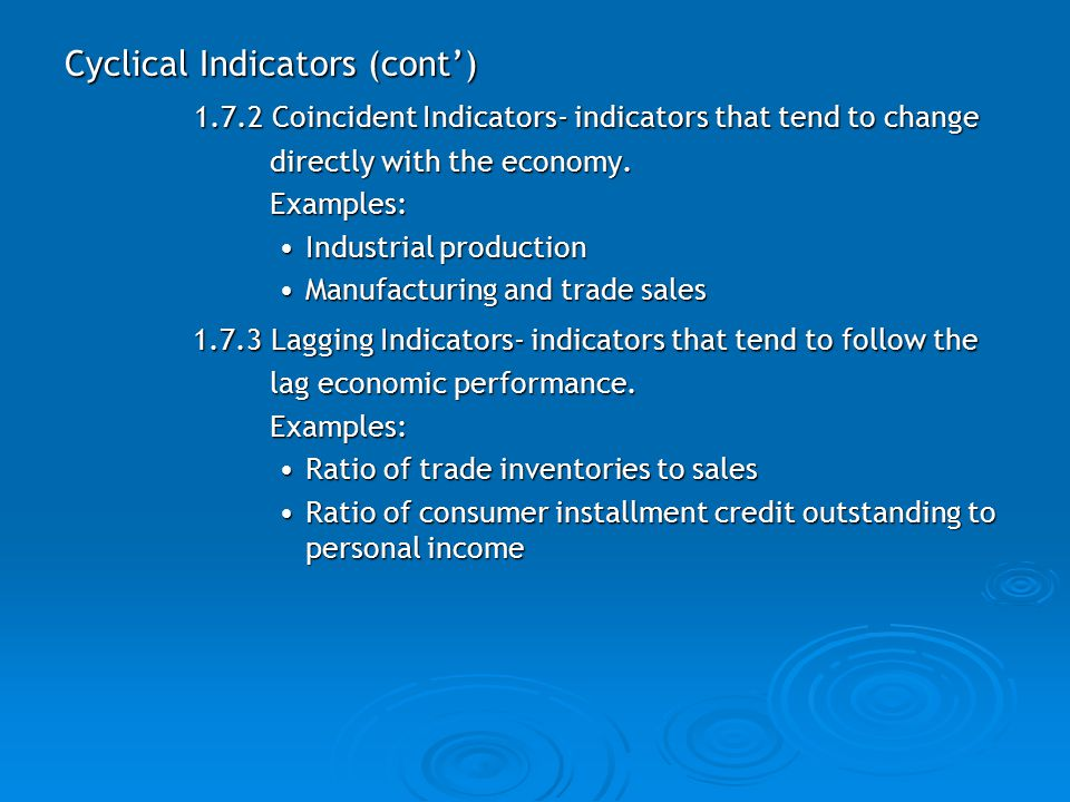 Cyclical Indicators (cont')