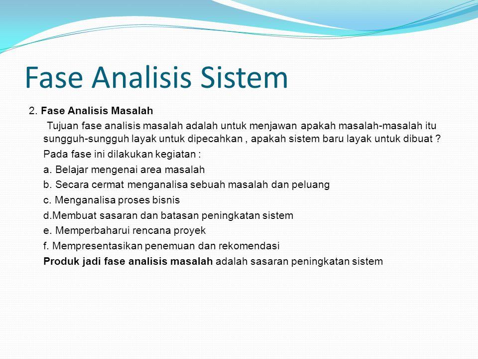 Fase Analisis Sistem 2. Fase Analisis Masalah
