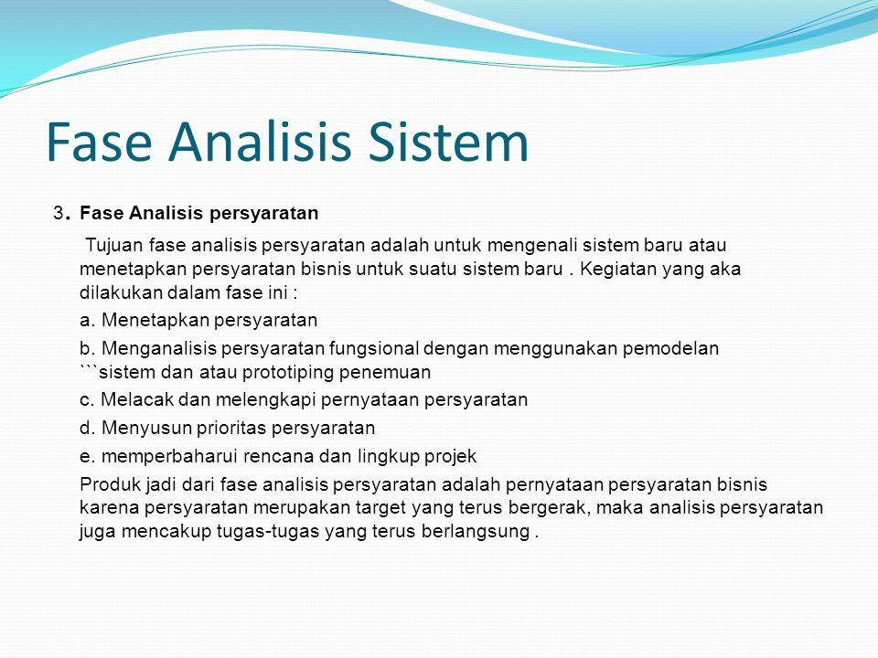 Fase Analisis Sistem 3. Fase Analisis persyaratan
