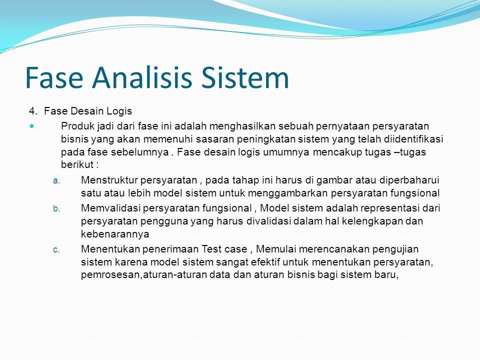 Fase Analisis Sistem 4. Fase Desain Logis