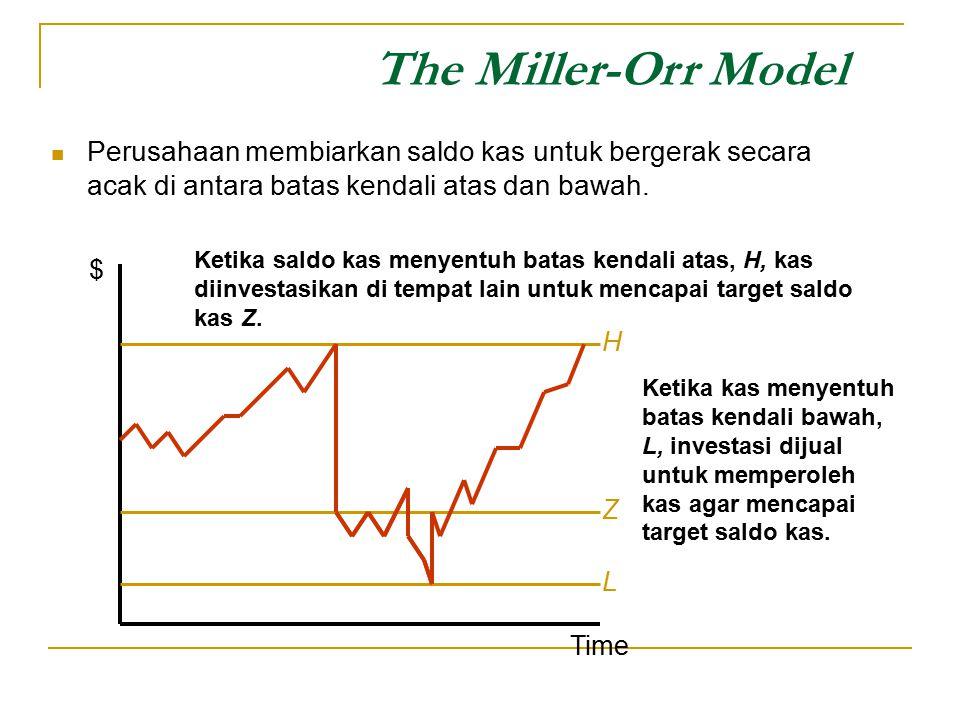 The Miller-Orr Model Perusahaan membiarkan saldo kas untuk bergerak secara acak di antara batas kendali atas dan bawah.
