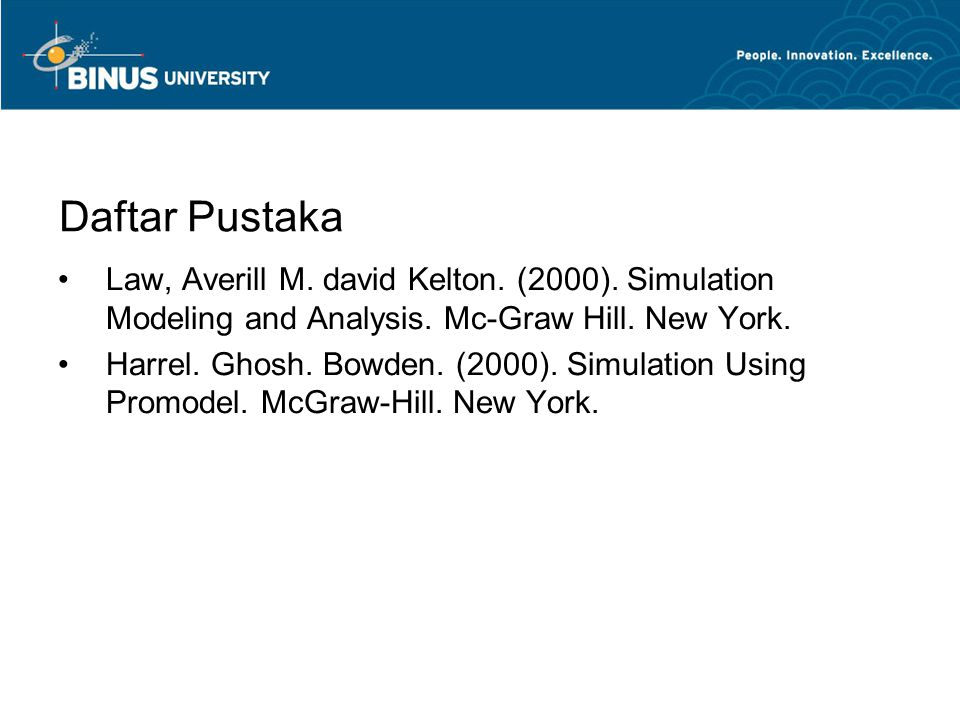 Daftar Pustaka Law, Averill M. david Kelton. (2000). Simulation Modeling and Analysis. Mc-Graw Hill. New York.