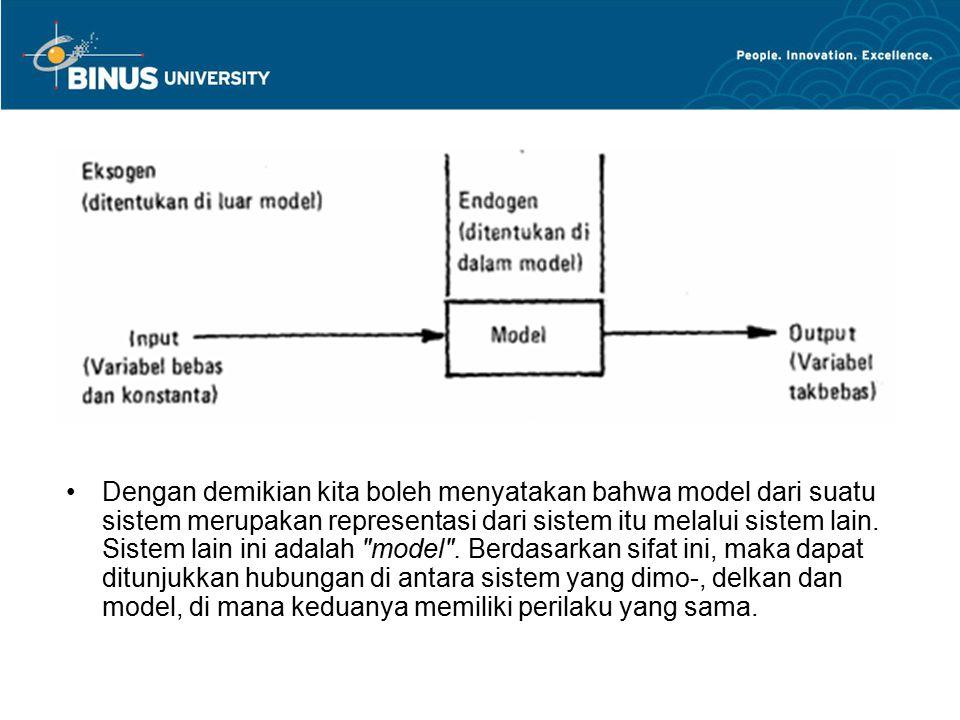 Dengan demikian kita boleh menyatakan bahwa model dari suatu sistem merupakan representasi dari sistem itu melalui sistem lain.
