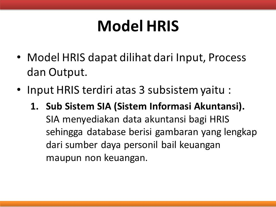 Model HRIS Model HRIS dapat dilihat dari Input, Process dan Output.