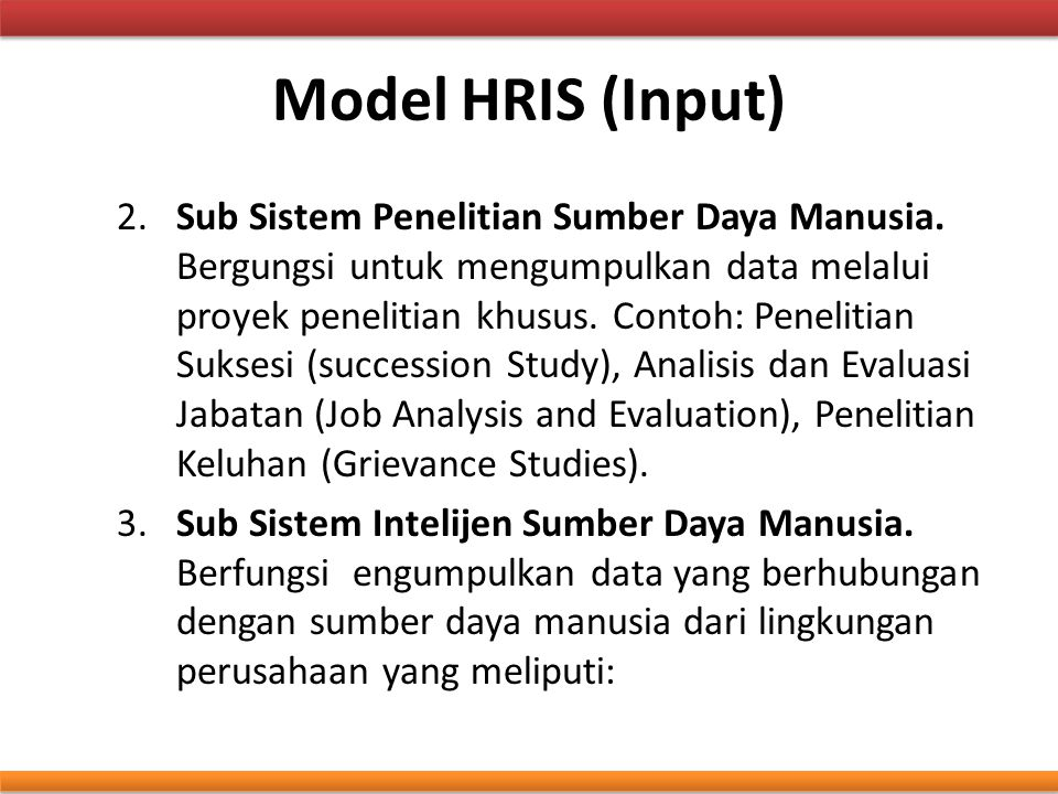 Model HRIS (Input)