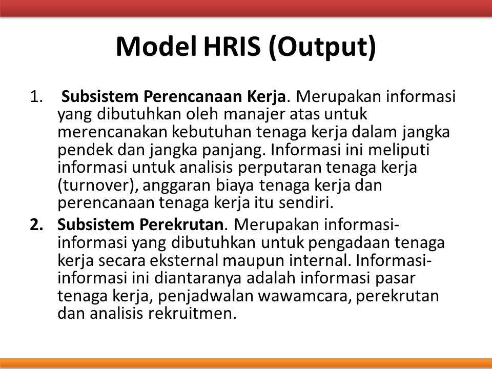 Model HRIS (Output)