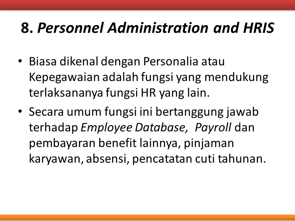 8. Personnel Administration and HRIS
