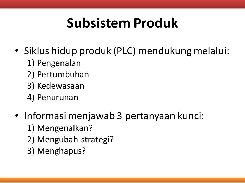 Subsistem Produk Siklus hidup produk (PLC) mendukung melalui: