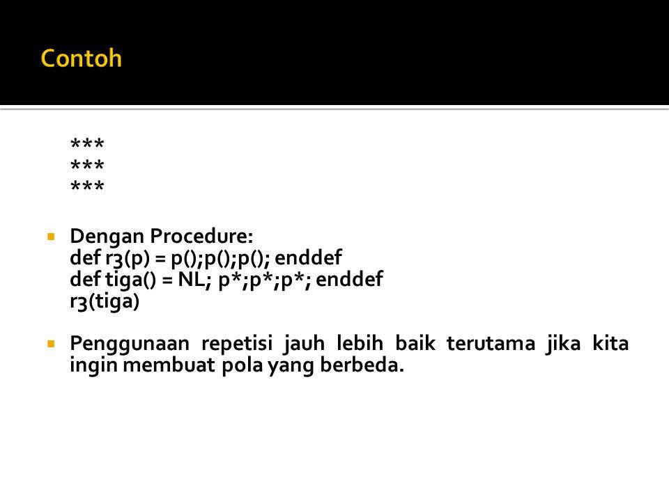 Contoh *** Dengan Procedure: def r3(p) = p();p();p(); enddef