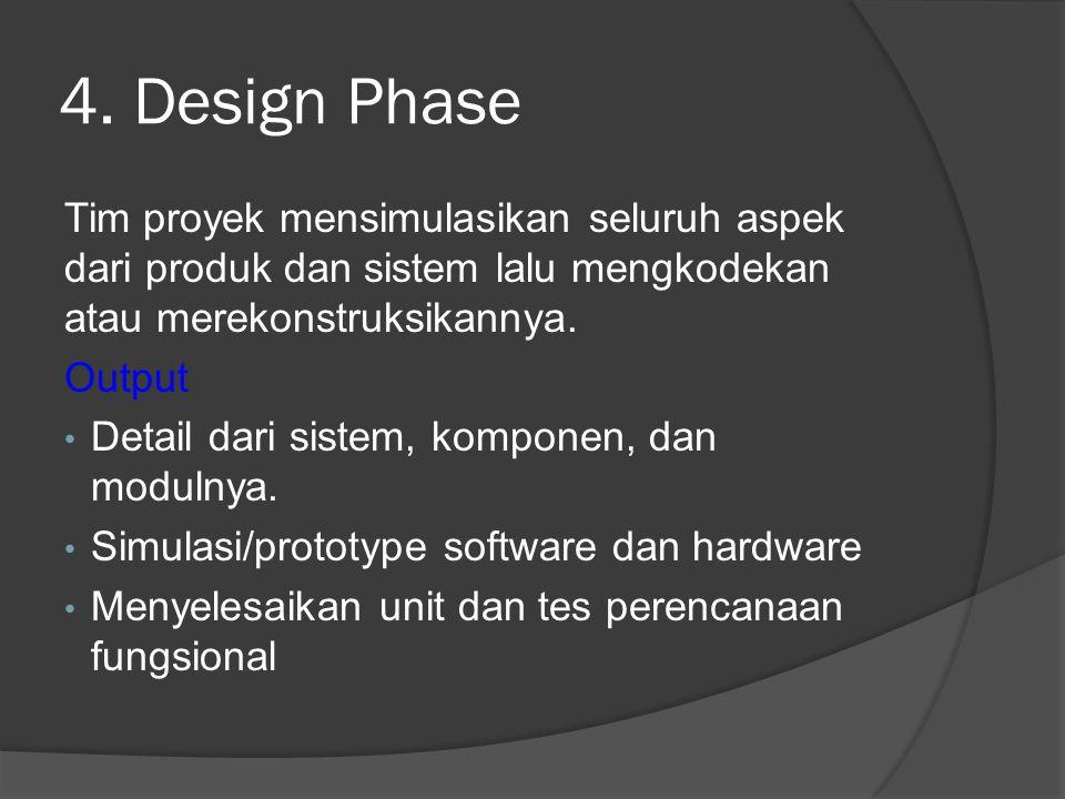4. Design Phase Tim proyek mensimulasikan seluruh aspek dari produk dan sistem lalu mengkodekan atau merekonstruksikannya.