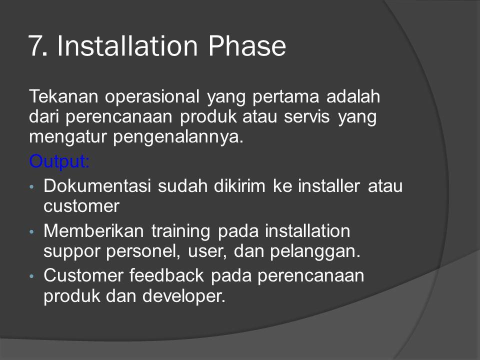 7. Installation Phase Tekanan operasional yang pertama adalah dari perencanaan produk atau servis yang mengatur pengenalannya.