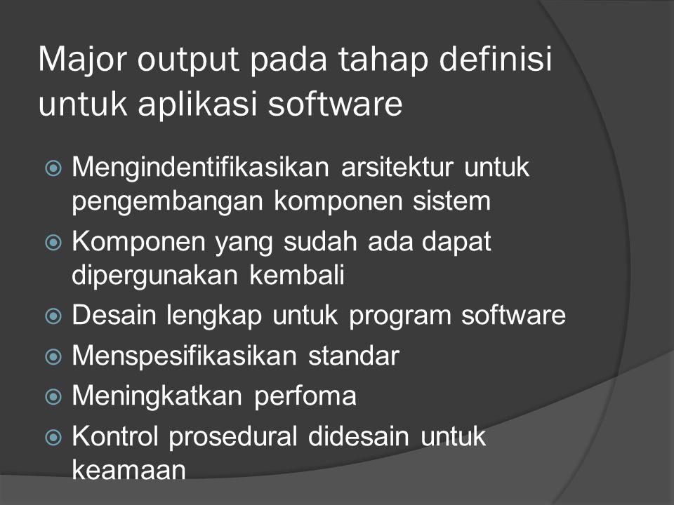 Major output pada tahap definisi untuk aplikasi software