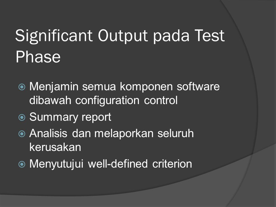 Significant Output pada Test Phase
