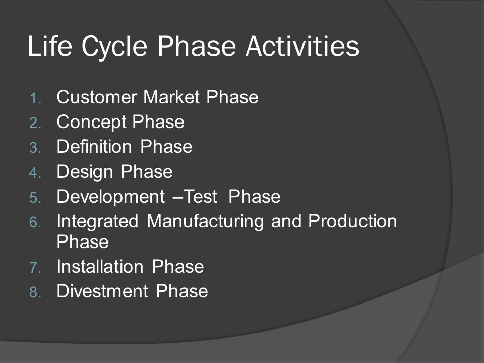 Life Cycle Phase Activities
