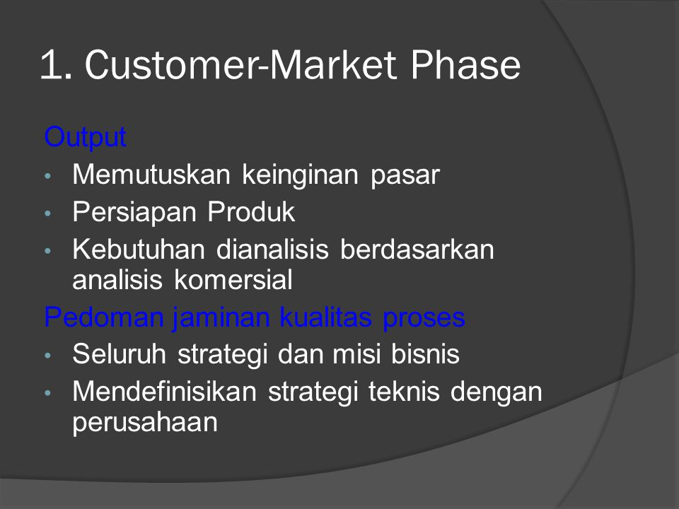 1. Customer-Market Phase