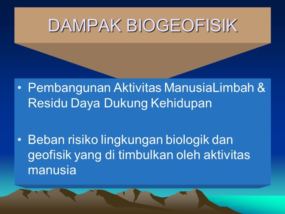 DAMPAK BIOGEOFISIK Pembangunan Aktivitas ManusiaLimbah & Residu Daya Dukung Kehidupan.