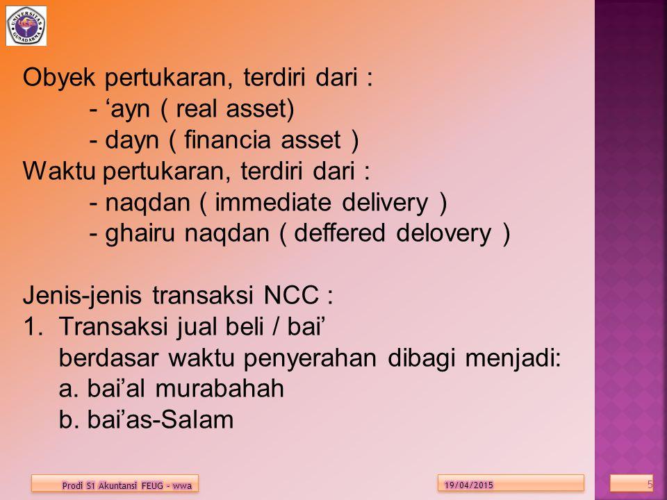 Obyek pertukaran, terdiri dari : - 'ayn ( real asset)