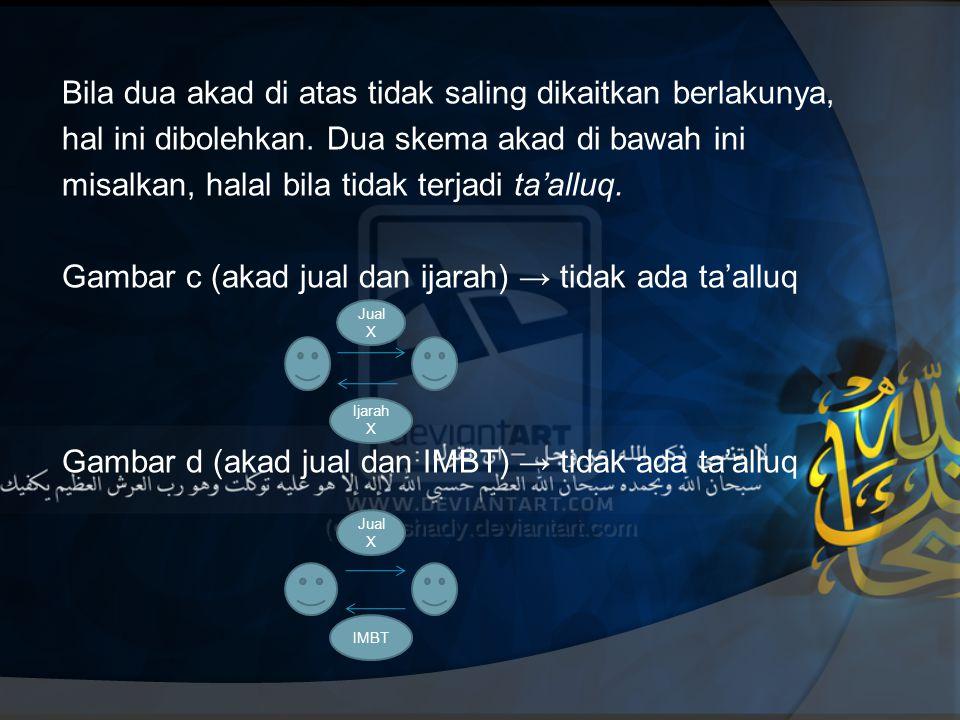 Bila dua akad di atas tidak saling dikaitkan berlakunya, hal ini dibolehkan. Dua skema akad di bawah ini misalkan, halal bila tidak terjadi ta'alluq. Gambar c (akad jual dan ijarah) → tidak ada ta'alluq Gambar d (akad jual dan IMBT) → tidak ada ta'alluq