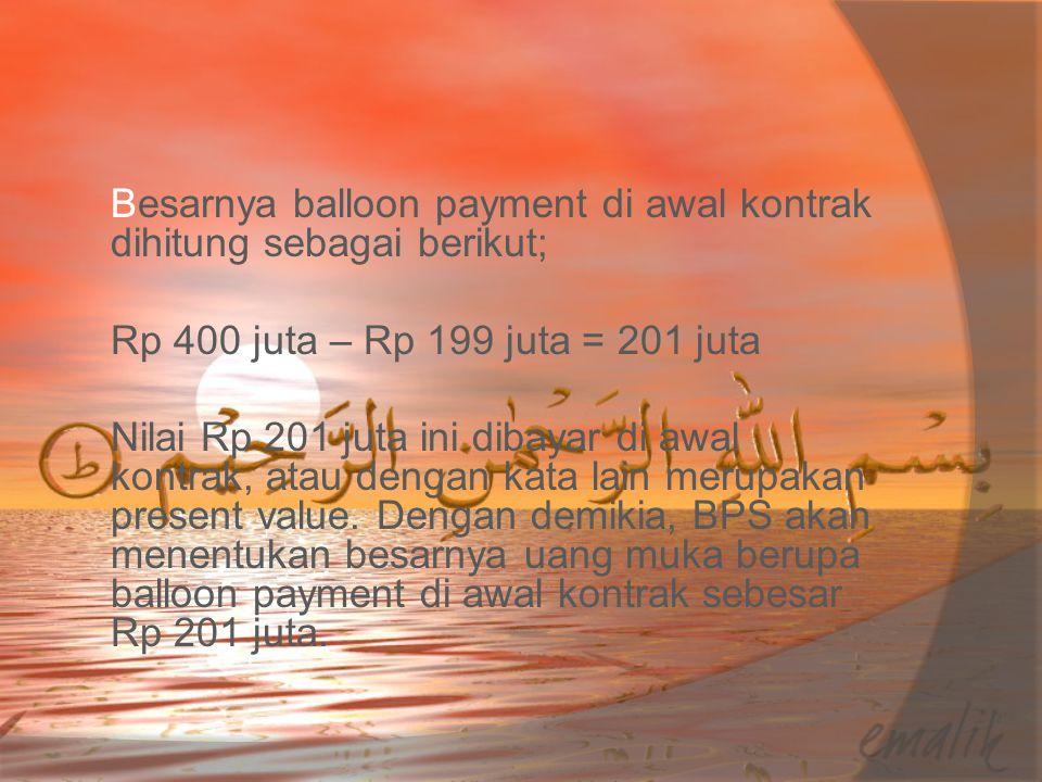 Besarnya balloon payment di awal kontrak dihitung sebagai berikut; Rp 400 juta – Rp 199 juta = 201 juta Nilai Rp 201 juta ini dibayar di awal kontrak, atau dengan kata lain merupakan present value.