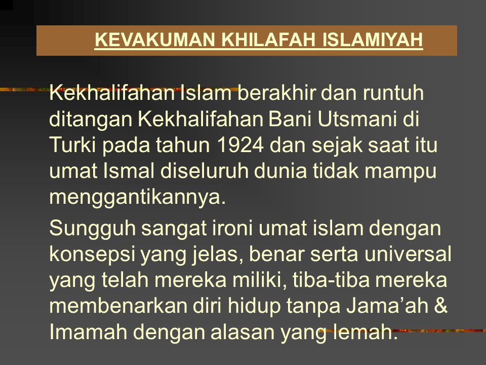 KEVAKUMAN KHILAFAH ISLAMIYAH