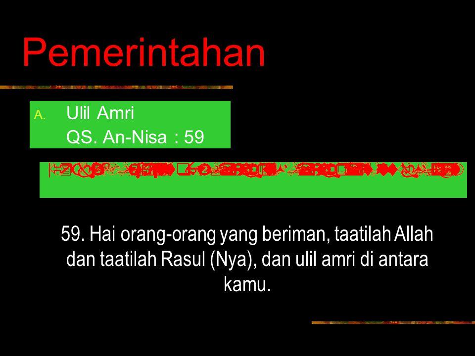 Pemerintahan Ulil Amri. QS. An-Nisa : 59. 59.