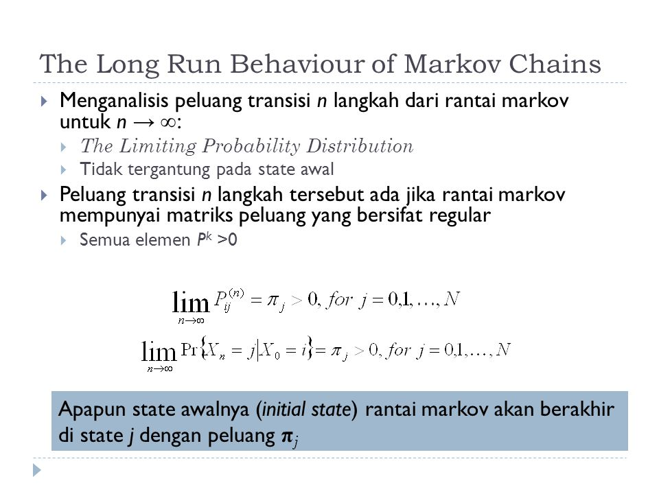 The Long Run Behaviour of Markov Chains