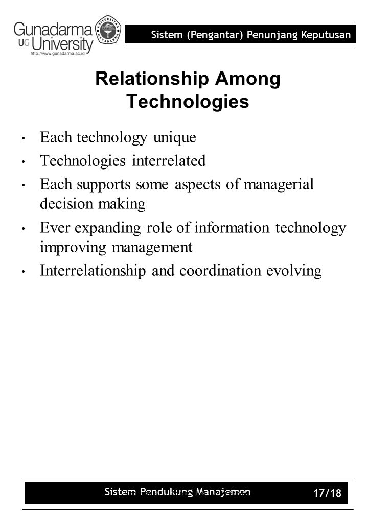 Relationship Among Technologies