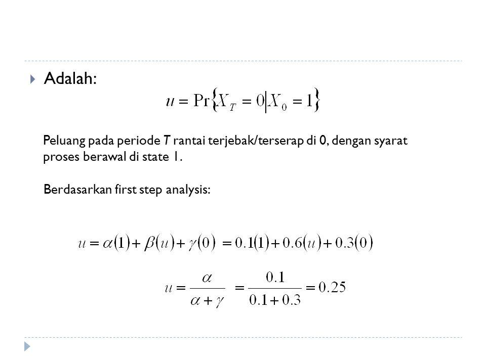 Adalah: Peluang pada periode T rantai terjebak/terserap di 0, dengan syarat proses berawal di state 1.