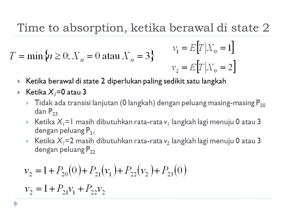 Time to absorption, ketika berawal di state 2