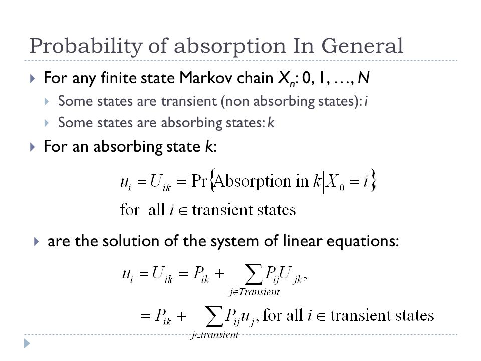 Probability of absorption In General