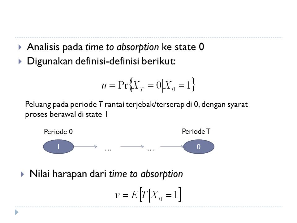 Analisis pada time to absorption ke state 0
