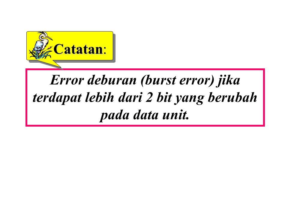 Catatan: Error deburan (burst error) jika terdapat lebih dari 2 bit yang berubah pada data unit.