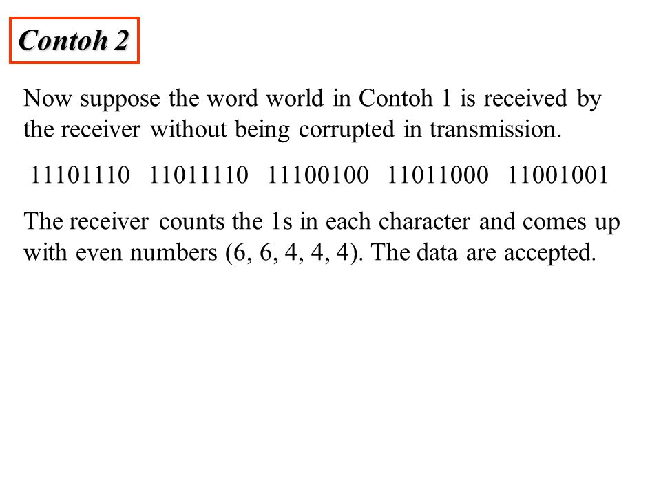 Contoh 2 Now suppose the word world in Contoh 1 is received by the receiver without being corrupted in transmission.