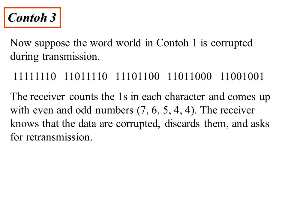 Contoh 3 Now suppose the word world in Contoh 1 is corrupted during transmission. 11111110 11011110 11101100 11011000 11001001.