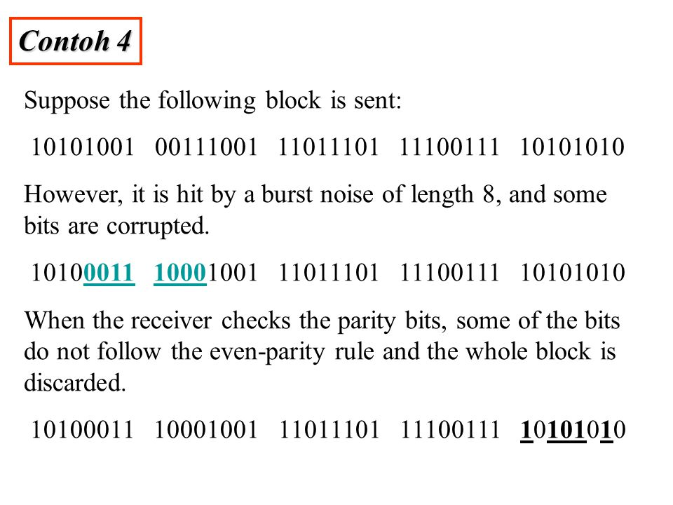 Contoh 4 Suppose the following block is sent: