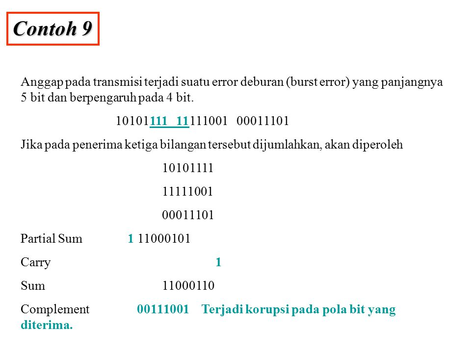Contoh 9 Anggap pada transmisi terjadi suatu error deburan (burst error) yang panjangnya 5 bit dan berpengaruh pada 4 bit.