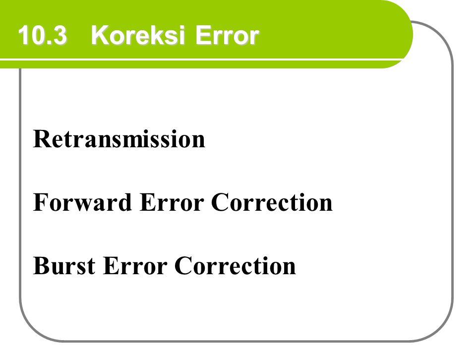 10.3 Koreksi Error Retransmission Forward Error Correction Burst Error Correction
