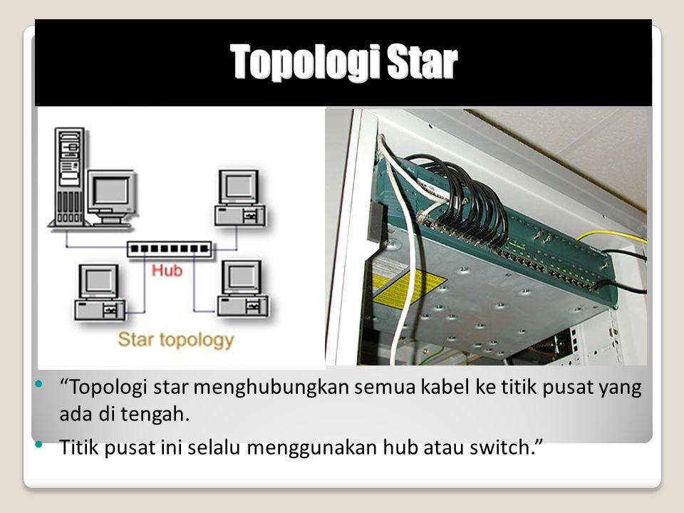 Topologi star menghubungkan semua kabel ke titik pusat yang ada di tengah.